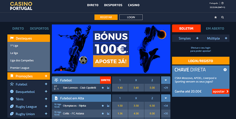 Casino Portugal: novo site de apostas com 100 Euros em bónus