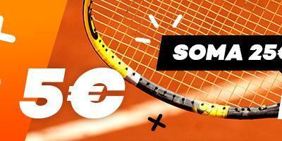 Soma €25 em apostas no Estoril Open e recebe €5 em bónus