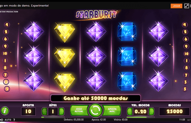 Slot Machine Starburst no Casino Nossa Aposta